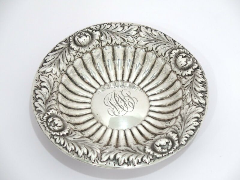 6 3/8 in - Sterling Silver Howard & Co. Antique Floral Small Serving Plate