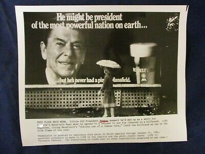 Vintage President Reagan Mansfield Beer advertising billboard Glossy Press Photo