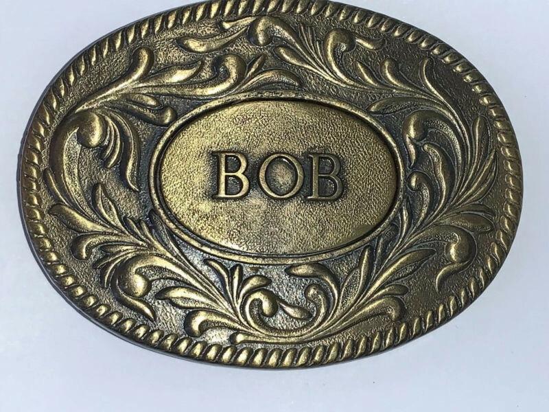 """BOB"" Western Belt Buckle Metal The Kinney Co 1977 Rare! Robert Vintage"
