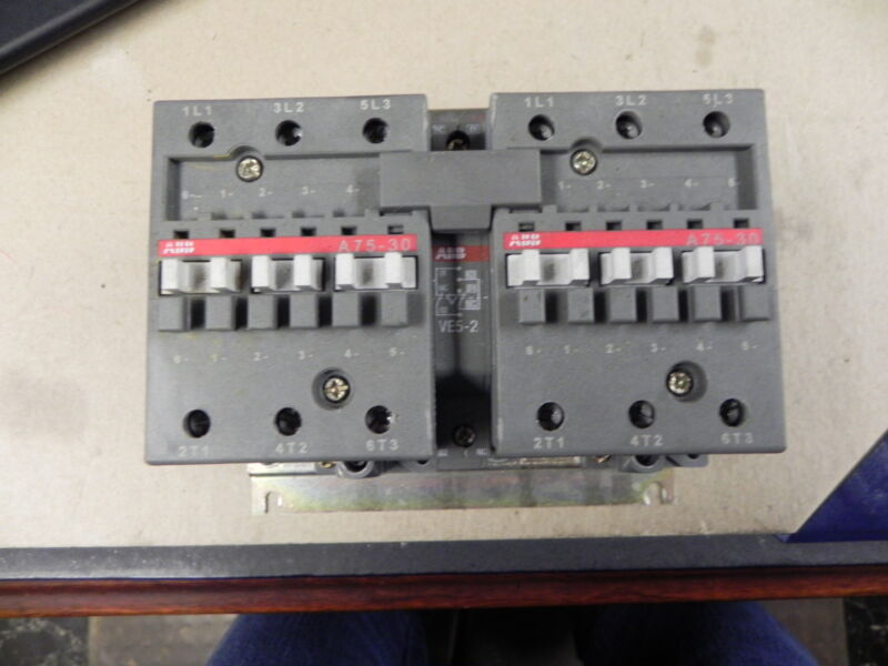 ABB A75M-30-11-51 AC Mechanically Interlocked IEC Contactors. Used.