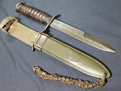 A+ WWII US M3 Trench Fighting Knife Utica Blade Mark in M8 Scbd Dagger