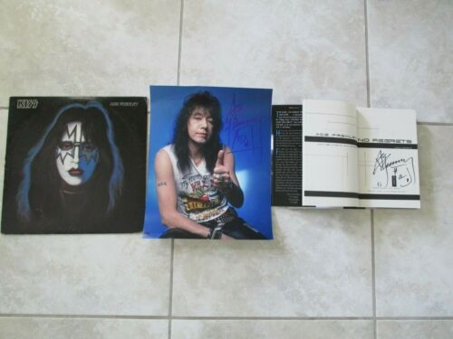 ACE FREHLEY SIGNED LOT- BOOK - PICTURE  1978 SOLO ALBUM - RARE