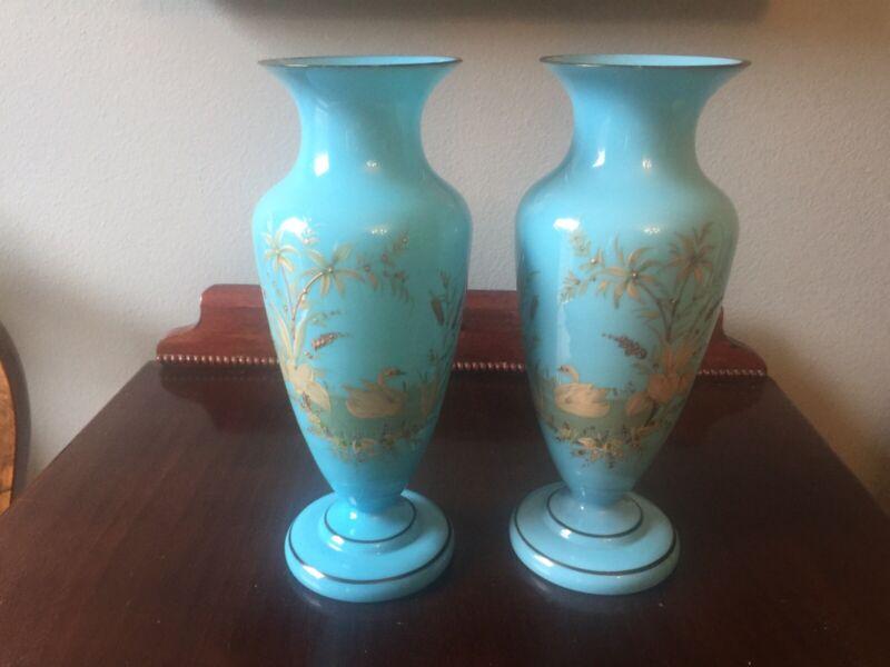 Handpainted Blue Opaline Vases