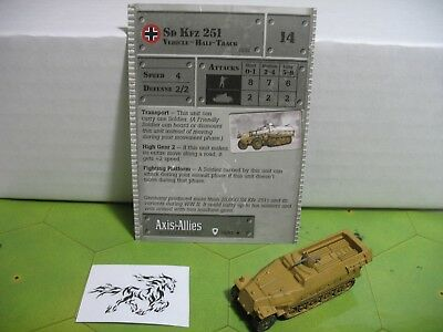 Axis & Allies Base Set Sd Kfz 251 with card 35/48 Axis Allies Base Set