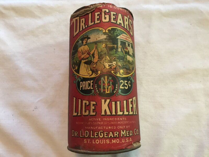 Dr. LeGear's Lice Killer Vintage Unopened Tin, St. Louis, Mo.