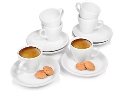 Bluespoon Espressotassen Porzellan Untertassen Tassen Espresso 75 ml 6er Set