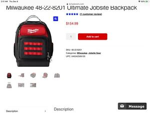 Milwaukee ultimate backpack New