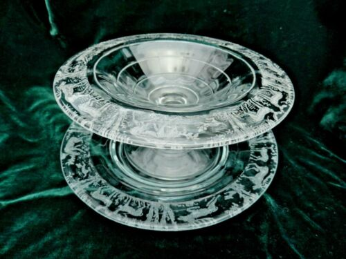 Paden City Glass Black Forest Clear Comport / Compote & Plate Deer Stag Dog