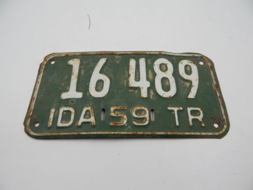 Idaho 1959 Trailer License Plate Vintage