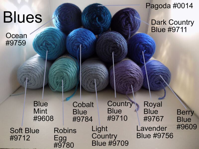 Blue Mint #9608 Cobalt #9784 Country #9710 Royal #9767 Berry #9609 Robins Egg #9780 Light Country #9709 Pagoda #0014