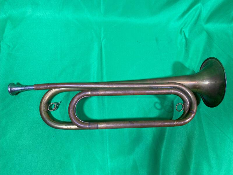 Vintage Rexcraft Boy Scouts Of America Brass Bugle w Mouthpiece