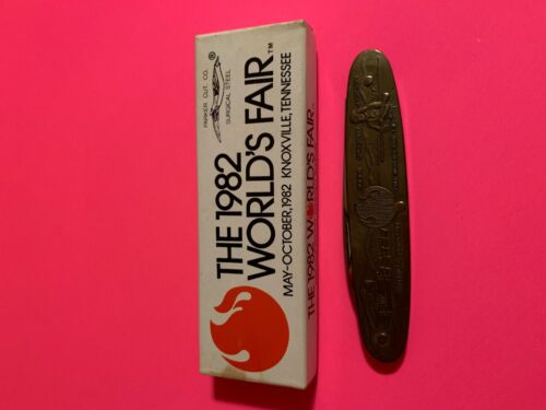 VINTAGE 1982 WORLDS FAIR POCKET KNIFE PARKER CUT CO KNOXVILLE TENNESSEE W/BOX