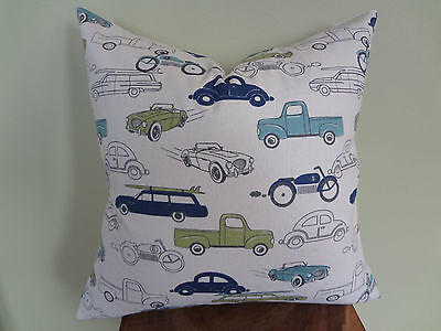 SALE Decorative Pillow Cover Light Navy Blue Green Off White Cars Kids Graphic - Navy Car Sales