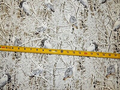 Snow Owl Owls WINTER C 6133 Nice Timeless Treasures Cotton Fabric  (Winter Owl)