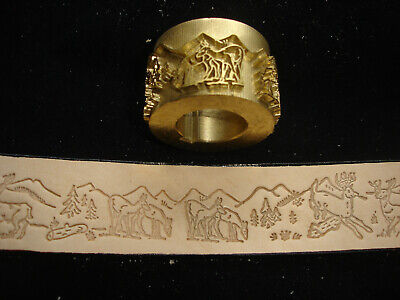 Leather Embossing Machine Roll Deers in the Woods Solid Brass