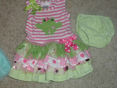 INFANT GIRLS DRESS BY-BONNIE BABY RUFFLED SKIRT MONOGRAMED FROG 12 MON--EUC](Monogrammed Baby Dresses)
