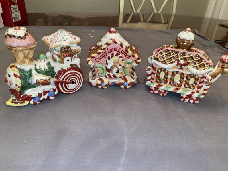 Fitz And Floyd Candy Lane 3 Piece Train Set With Original Box