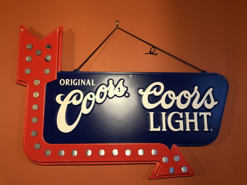 Vintage Coors Light Double Sided Plastic Arrow Embossed Sign