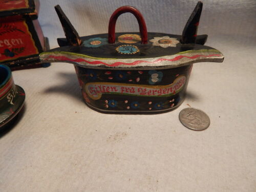 ANTIQUE DATE 1926 SCANDINAVIAN ROSEMALED MINIATURE TINA BOX ROSEMALING BOX WOOD