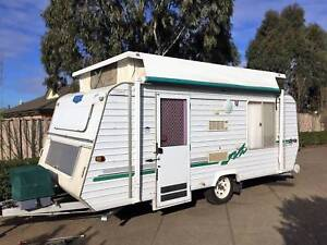 Fits in garage Roma double island bed great condition easy to tow