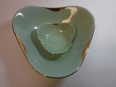 2pc Vintage Figgjo Norway Mint Green Pastel Nesting Bowls