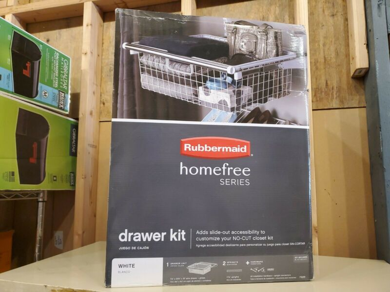 Rubbermaid HomeFree White Wire Sliding Basket Kit
