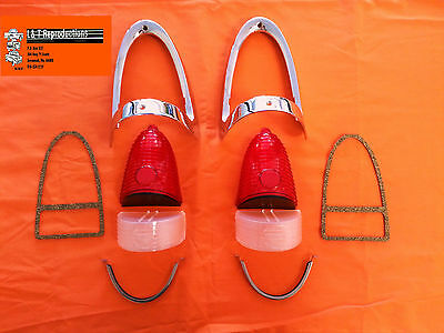 1955 Chevy Red Tail Light Chrome Bezel Kit 10 PC W USA Made Parts Best Set
