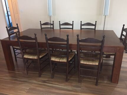 Dining table and chairs, 9 piece, large solid wood