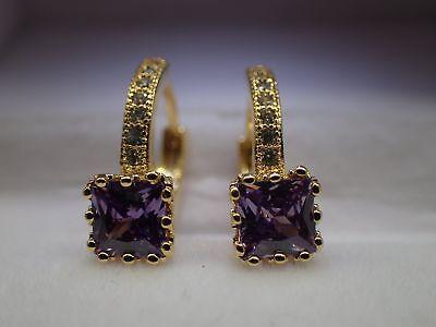 18k Yellow gold Solid Created diamond Princess Amethyst Hoop Huggie Earrings