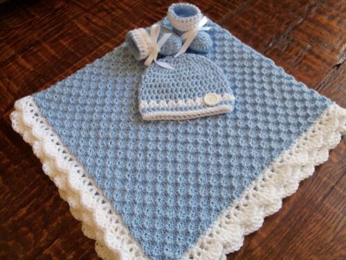 Knit/Crochet Personalized Baby Blanket, Hat and Booties (33x33)