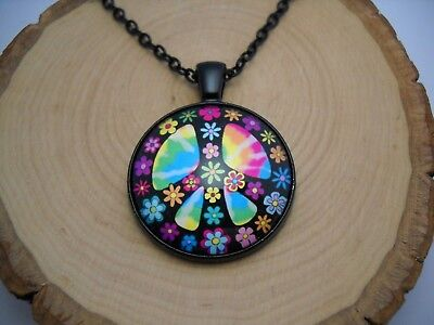 Flower Peace Sign Cabochon Glass Pendant with Black Chain Necklace Jewelry USA