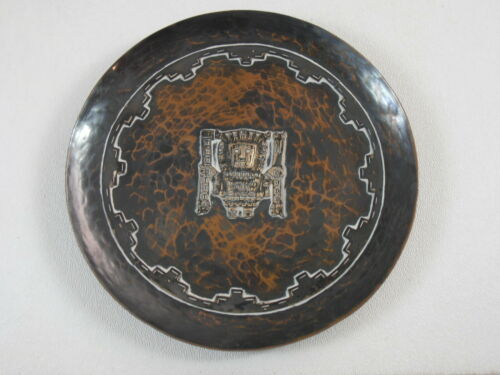 Vtg Inca Sterling on Copper Wall Plaque Plate Industria Peruana Peru Old Cuzco A