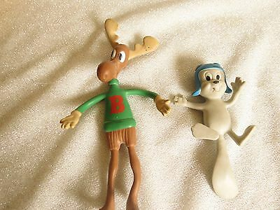 Bullwinkle & Rocky Bendy Toy Vintage 1985 Jesco Bendable Squirrel & Moose