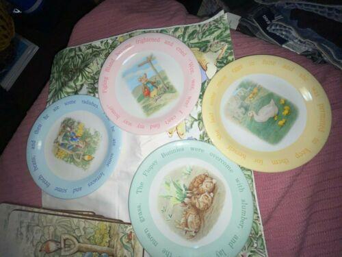"Set of 4 Pottery Barn Kids Beatrix Potter Peter Rabbit 9"" plates see description"