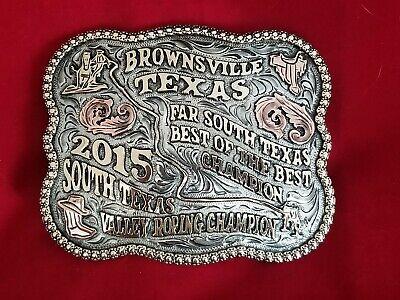 2015 RODEO TROPHY BELT BUCKLE~BROWNSVILLE TEXAS CALF ROPING CHAMPION VINTAGE 593