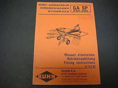 (Kuhn Manual Gyrorake GA SP 230-280 Fitting Instructions No.112.03)