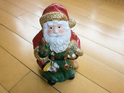 Weihnachts Dekoration Nikolaus Weihnachtsmann Porzellan rot grün gold 20 cm