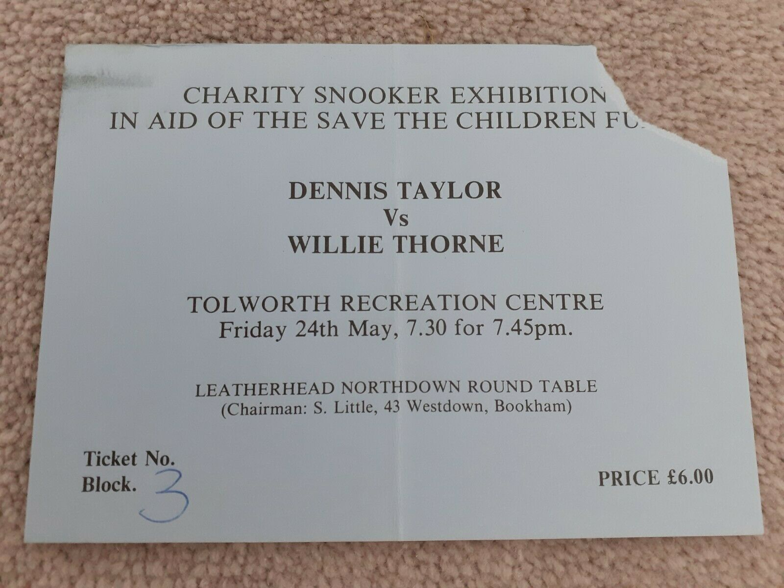 CHARITY SNOOKER DENNIS TAYLOR V WILLIE THORNE USED TICKET STUB 24.5.85 VG COND