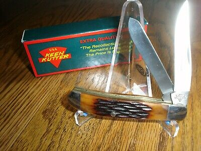 KEEN KUTTER Stag 1992 Pocket Knife 2 BLADES New In Box Made In USA