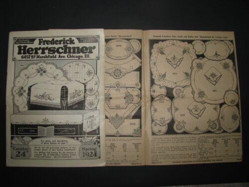 2 ANTIQUE 1924 ART NEEDLEWORK SUPPLIES EMBROIDERY CATALOG F HERRSCHNER CHICAGO