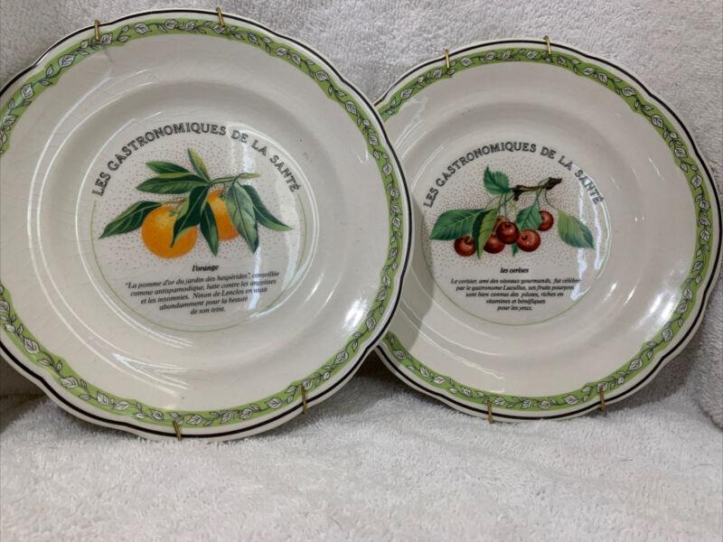 Gien France Set Of Two Fruit Plates 🍒🍊