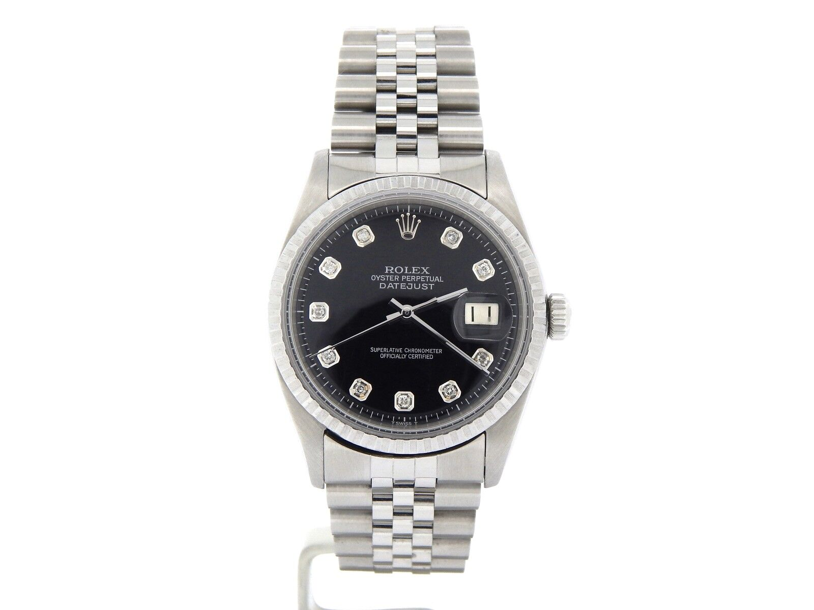 Rolex Datejust Mens SS Stainless Steel Jubilee Black Diamond Dial Watch 1603