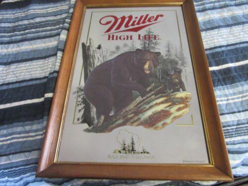 MILLER BEER SIGN MIRROR WILDLIFE COLLECTION WISCONSIN BLACK BEAR GAME BAR PUB