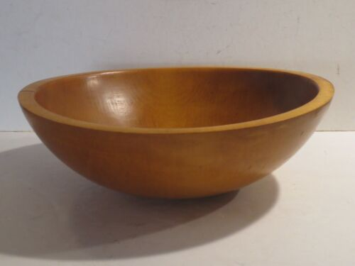 Primitive Style Wooden Maple Dough Bowl With Beautiful Age Patina, Marked
