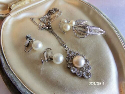 Vintage Fx Pearl Crystal Silver Tone Pendant Necklace Brooch Clip Earrings Lot