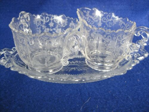 Beautiful Cambridge Chantilly Sugar & Creamer on Tray