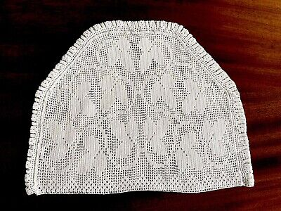 Vintage Hand Crochet White Cotton Tea Cosy Cover 12X9.5 INCHES