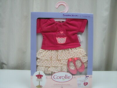 White Dress Pink Shoes (New Corolle Mademoiselle 14-Inch Ruffle  Pink and White Dress and Shoes)