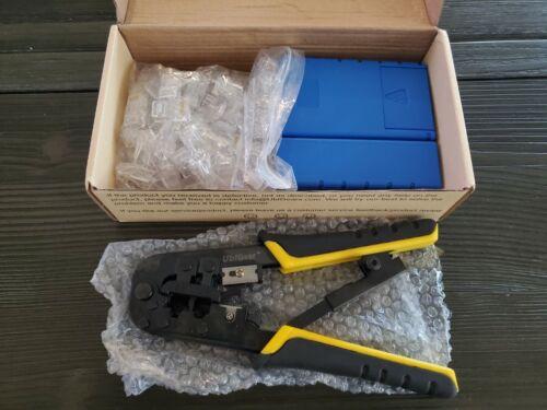 UbiGear Cable Tester +Crimp Crimper +100 RJ45 CAT5e Connector Plug Network Tool