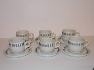 6 x Steelite Grey & White Design Espresso Small Coffee Cups and Saucers - Lovely
